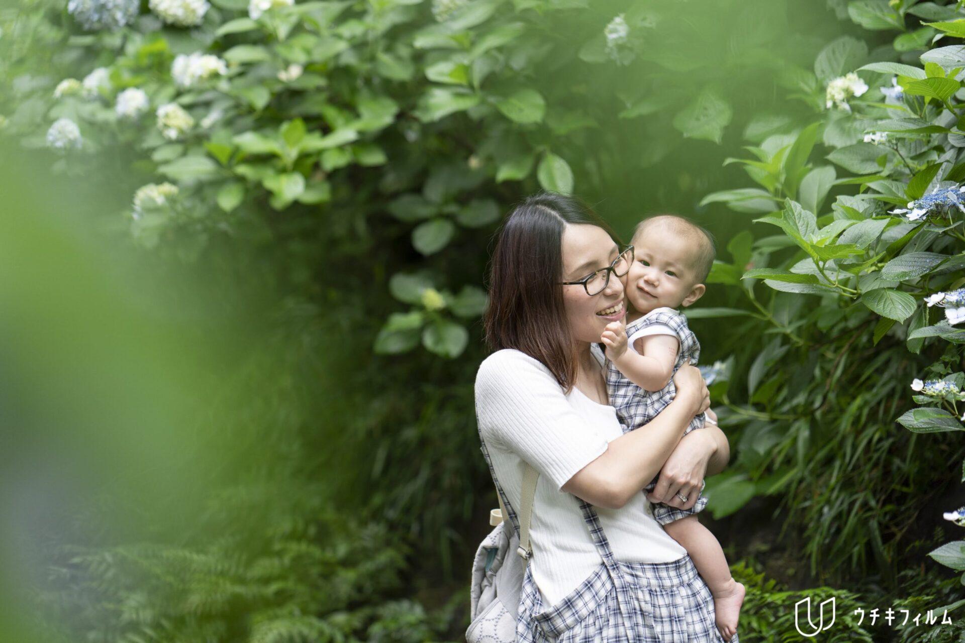 生田緑地での家族写真撮影
